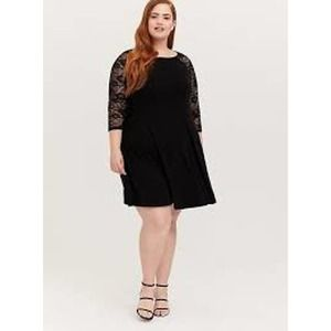 NWT Torrid Black Jersey & Lace Trapeze Mini Dress